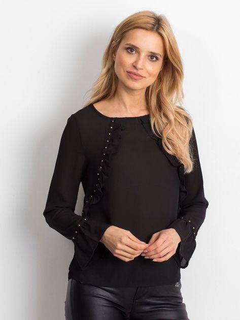 Szyfonowa bluzka z falbankami i aplikacją czarna                                  zdj.                                  4