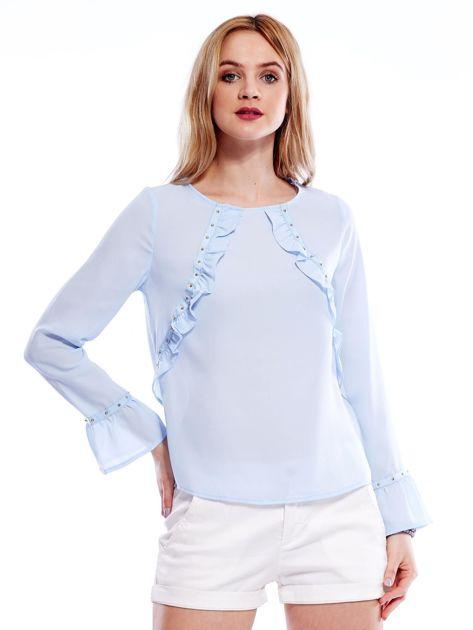 Szyfonowa bluzka z falbankami i aplikacją jasnoniebieska                              zdj.                              1