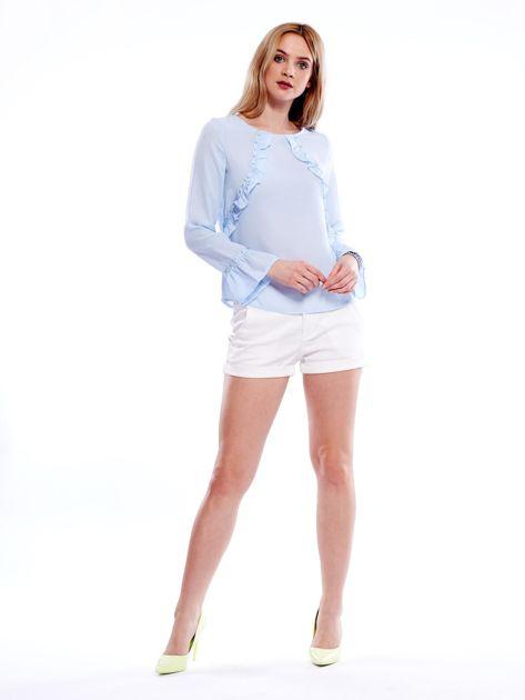 Szyfonowa bluzka z falbankami i aplikacją jasnoniebieska                                  zdj.                                  9
