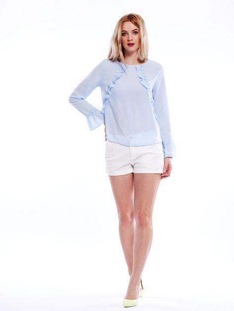 Szyfonowa bluzka z falbankami i aplikacją jasnoniebieska                                  zdj.                                  4