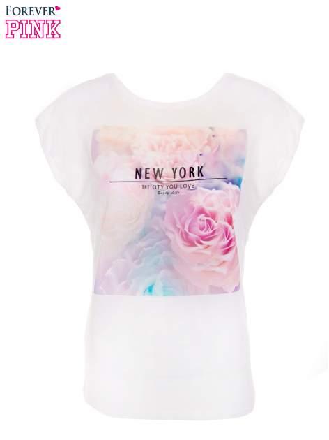T-shirt NEW YORK z pastelowym floral printem