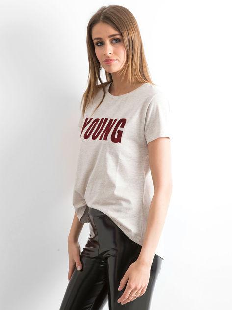 T-shirt beżowy Young                              zdj.                              3