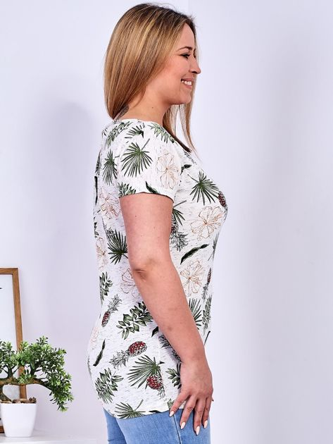 T-shirt beżowy z nadrukiem roślinnym PLUS SIZE                              zdj.                              3