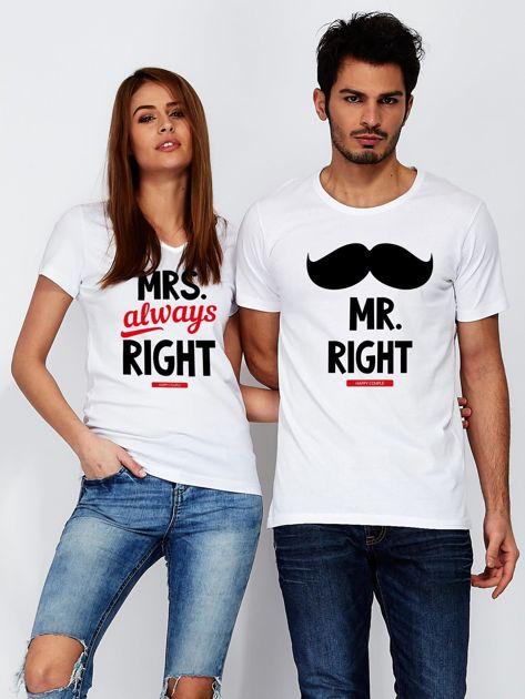 T-shirt biały dla par MRS. RIGHT                                  zdj.                                  3