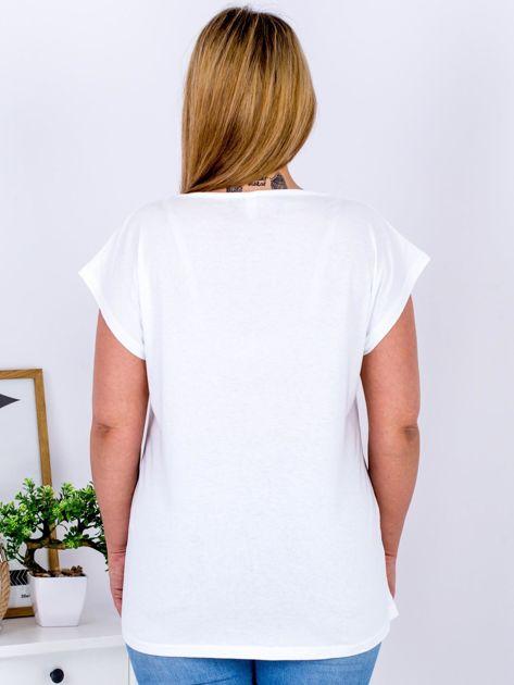 T-shirt biały z nadrukiem PLUS SIZE                              zdj.                              2