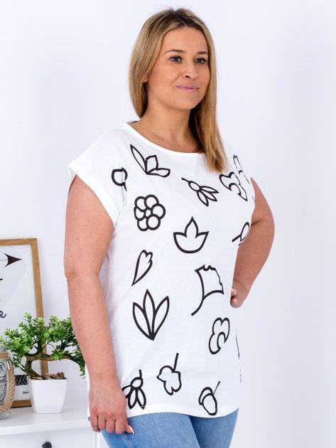 T-shirt biały z nadrukiem PLUS SIZE                              zdj.                              5