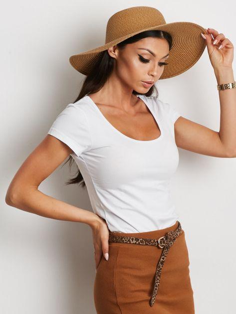 T-shirt biały z wycięciami z tyłu                              zdj.                              3