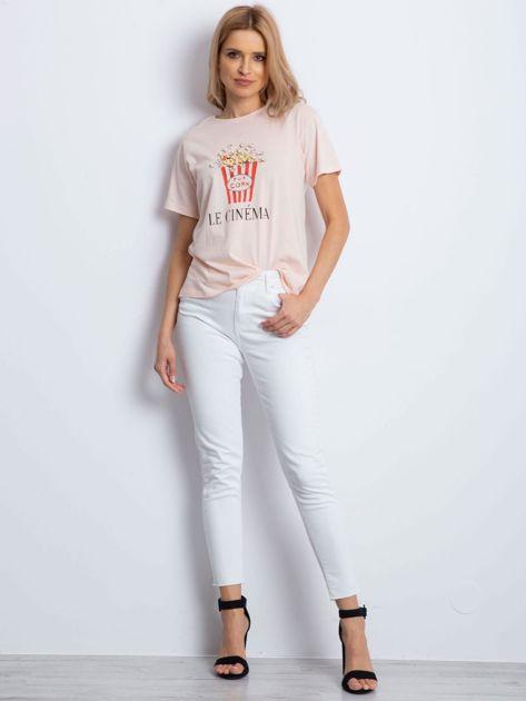 T-shirt brzoskwiniowy z popcornem                                  zdj.                                  2