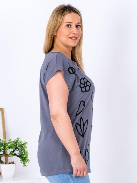 T-shirt ciemnoszary z nadrukiem PLUS SIZE                              zdj.                              5