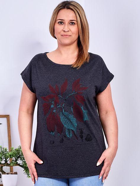T-shirt ciemnoszary z roślinnym printem PLUS SIZE                              zdj.                              1
