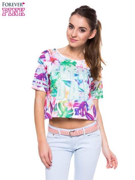 T-shirt crop top z exotic printem                                  zdj.                                  1
