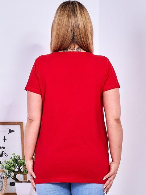 T-shirt czerwony z gwiazdą z perełek PLUS SIZE                                  zdj.                                  2