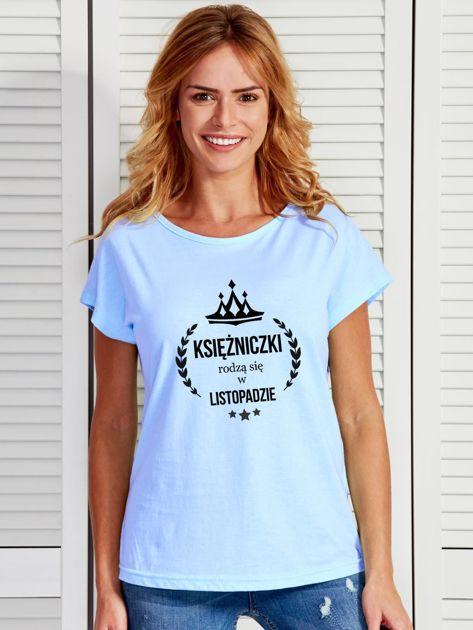 T-shirt damski KSIĘŻNICZKI z nadrukiem korony niebieski                              zdj.                              1