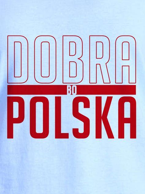 T-shirt damski patriotyczny DOBRA BO POLSKA niebieski                              zdj.                              2