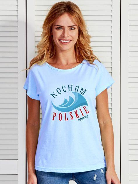 T-shirt damski patriotyczny KOCHAM POLSKIE MORZE niebieski                              zdj.                              1