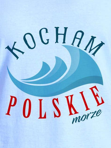 T-shirt damski patriotyczny KOCHAM POLSKIE MORZE niebieski                              zdj.                              2