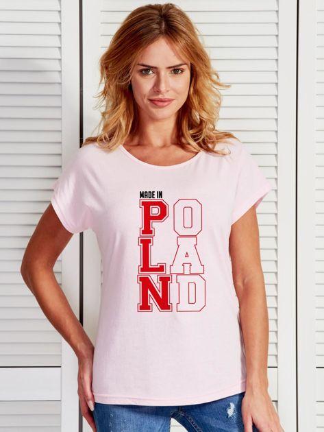 T-shirt damski patriotyczny MADE IN POLAND jasnoróżowy                              zdj.                              1