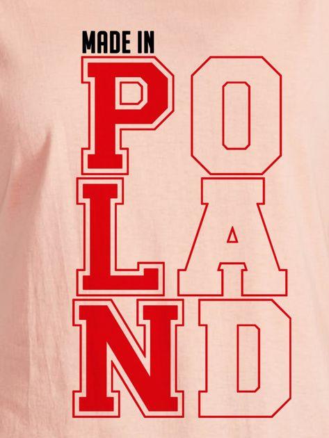 T-shirt damski patriotyczny MADE IN POLAND łososiowy                                  zdj.                                  2