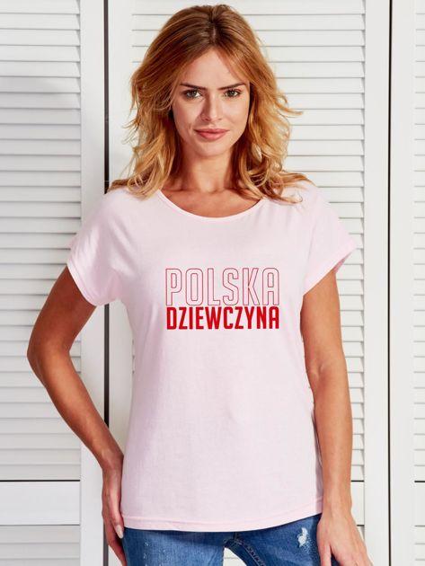T-shirt damski patriotyczny POLSKA DZIEWCZYNA jasnoróżowy                                  zdj.                                  1