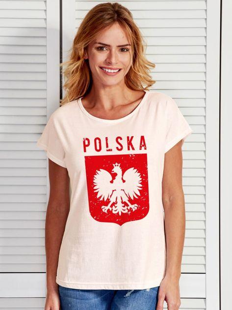 T-shirt damski patriotyczny POLSKA z Orłem Białym ecru                              zdj.                              1