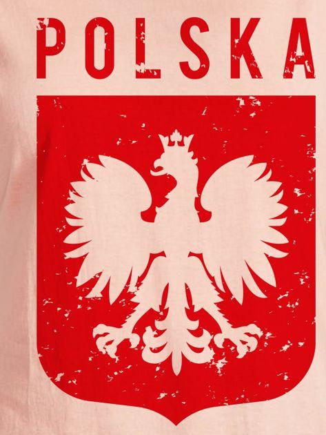 T-shirt damski patriotyczny POLSKA z Orłem Białym łososiowy                              zdj.                              2