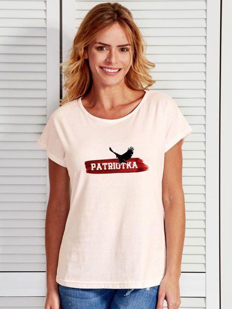 T-shirt damski patriotyczny z orłem PATRIOTKA ecru                                  zdj.                                  1