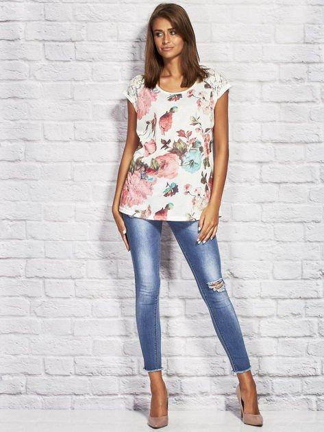 T-shirt damski z motywem roślinnym ecru                              zdj.                              4