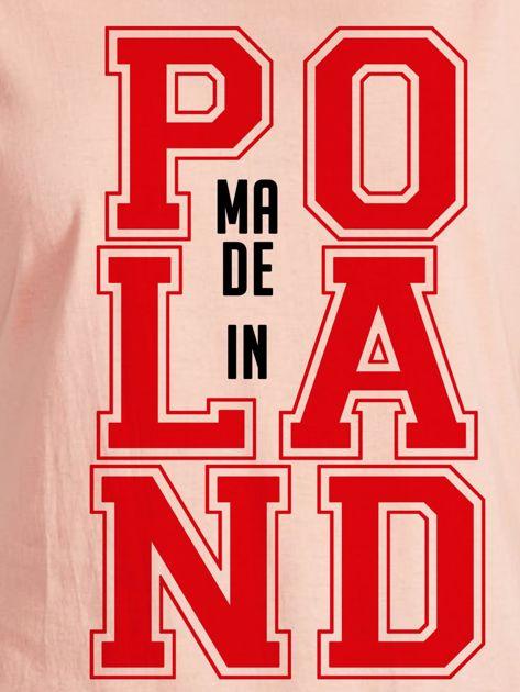 T-shirt damski z nadrukiem MADE IN POLAND łososiowy                              zdj.                              2