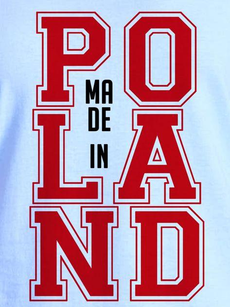 T-shirt damski z nadrukiem MADE IN POLAND niebieski                                  zdj.                                  2