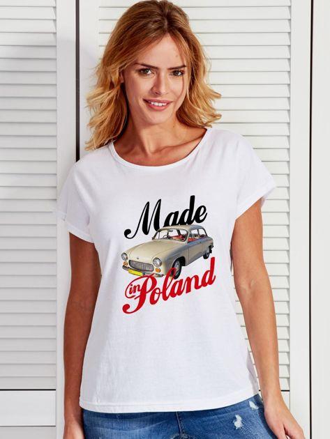 T-shirt damski z nadrukiem samochodu Syrenki biały                                  zdj.                                  1
