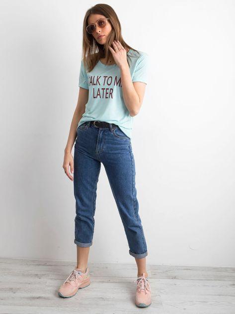T-shirt damski z napisem miętowy                              zdj.                              4
