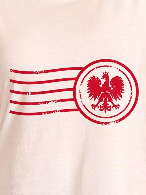 T-shirt damski z patriotycznym nadrukiem ecru                              zdj.                              2