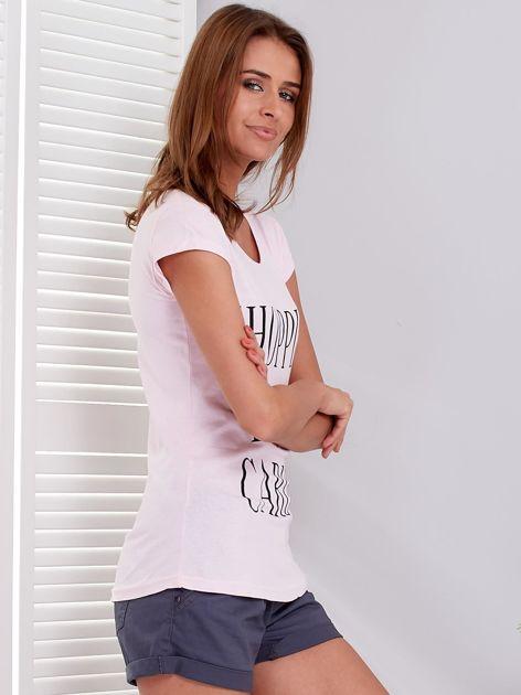 T-shirt jasnoróżowy SHOPPING IS MY CARDIO                              zdj.                              5