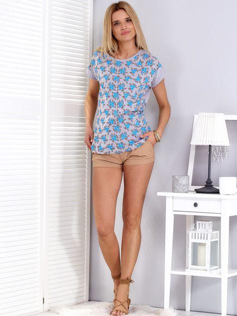 T-shirt jasnoszary w kwiaty                              zdj.                              4