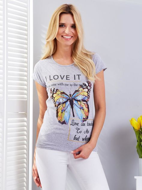 T-shirt jasnoszary z motylem                                  zdj.                                  1