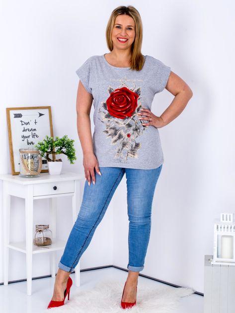 T-shirt jasnoszary z różą PLUS SIZE                              zdj.                              4
