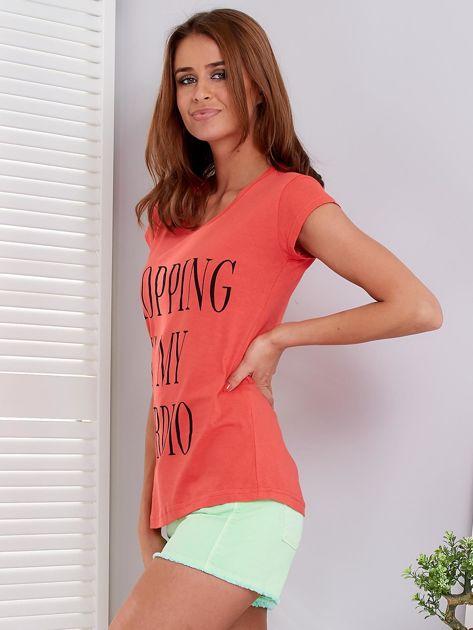 T-shirt koralowy SHOPPING IS MY CARDIO                              zdj.                              5