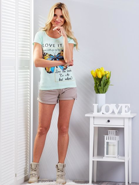 T-shirt miętowy z motylem                              zdj.                              5