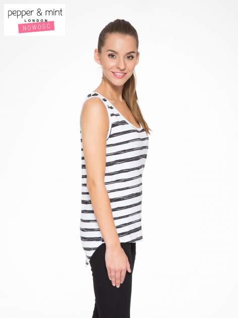 T-shirt na szerokich ramiączkach w biało-czarne paski                                  zdj.                                  3