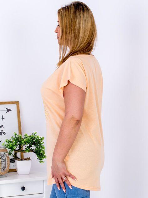 T-shirt pomarańczowy z truskawką PLUS SIZE                                  zdj.                                  5