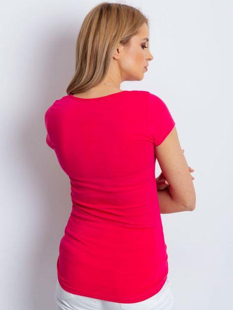 T-shirt różowy cut out                              zdj.                              2