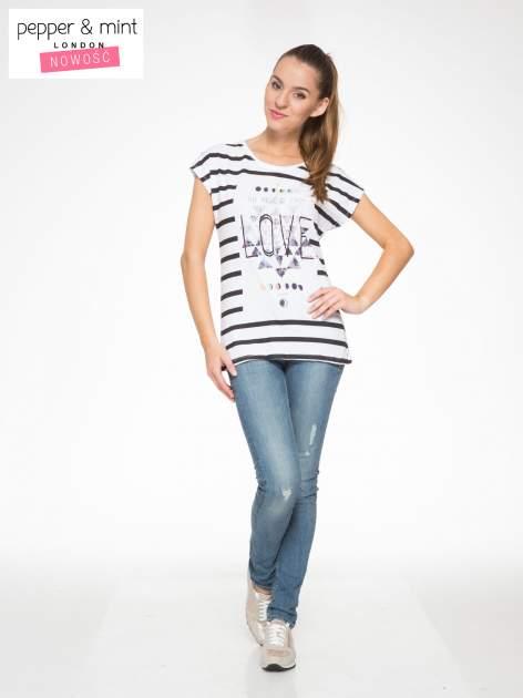 T-shirt w biało-czarne paski z napisem LOVE                                  zdj.                                  5
