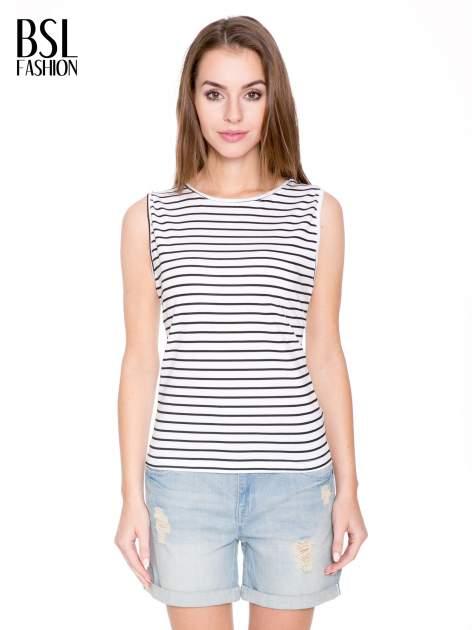 T-shirt w biało-czarne paski z odkrytym tyłem                                  zdj.                                  1