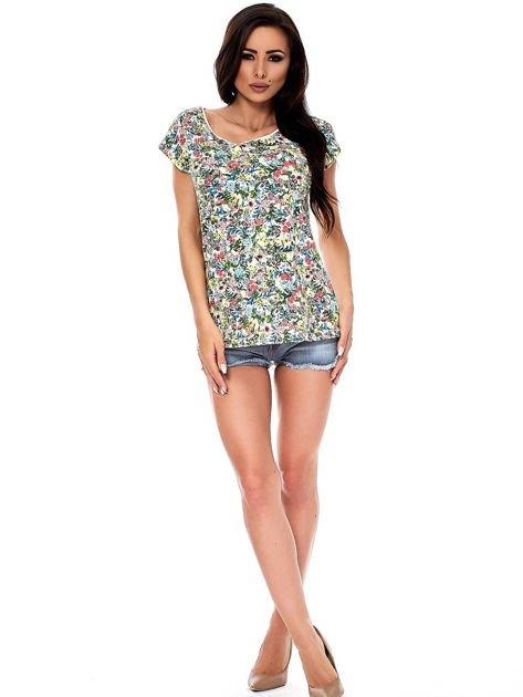 T-shirt w kolorowe drobne kwiatki                              zdj.                              4