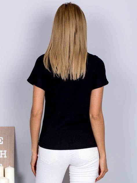 T-shirt z nadrukiem dziewczyny i rozcięciem czarny                              zdj.                              2