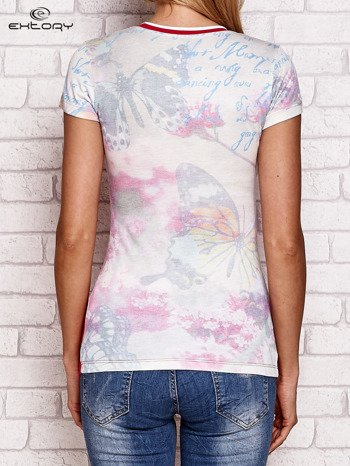 T-shirt z nadrukiem motyli koralowy                              zdj.                              2