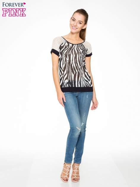 T-shirt z nadrukiem zebry i ażurowymi rękawami                                  zdj.                                  5