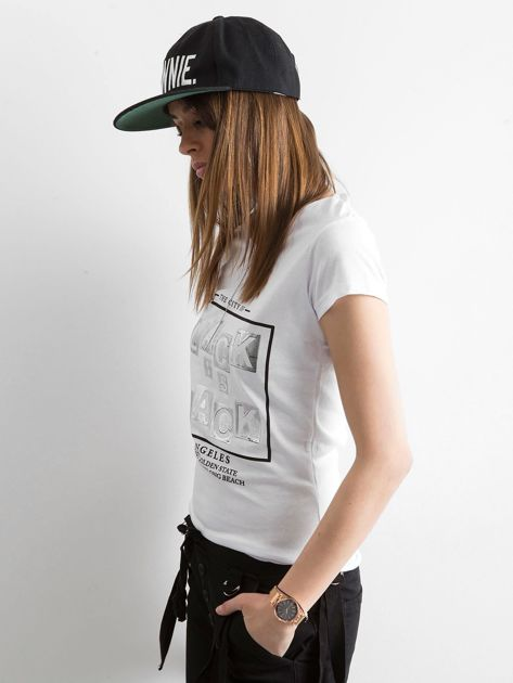 T-shirt z napisami biały                              zdj.                              3