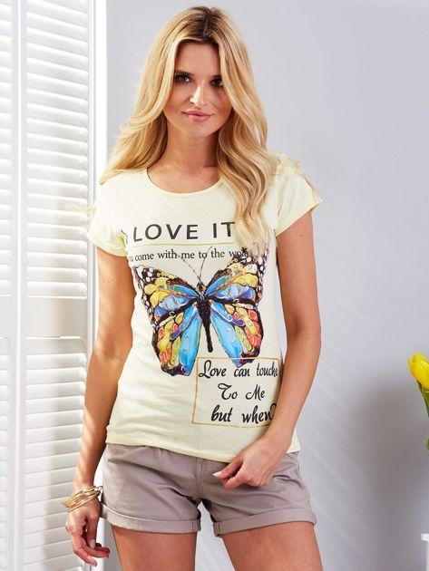 T-shirt żółty z motylem                                  zdj.                                  1