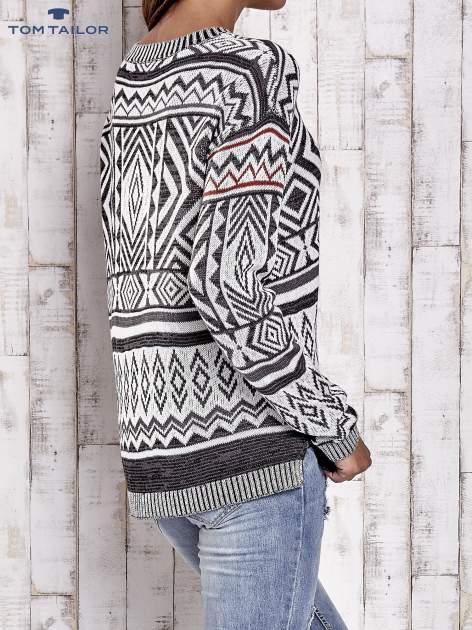 TOM TAILOR Biały sweter w etnicznym stylu z frędzlami                                   zdj.                                  5